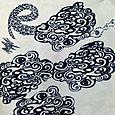 入道雲② 型染め 筒描き
